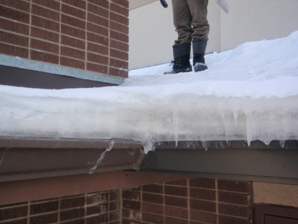 Ice Damming - Ice damming is usually caused by improper insulation or soffit ventilation, which causes snow to melt above the heated living space and freeze as it reaches an unheated area of the roof. It can also be caused by a blocked soffit. If you think you may have ice damming, contact Bricor Roofing today!